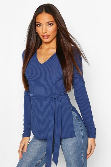 Navy Tall Belted Side Split Rib Top