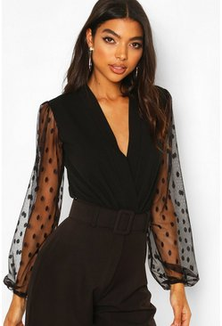 Black Tall Dobby Mesh Wrap Bodysuit
