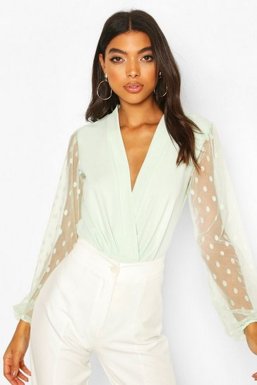 Mint Tall Dobby Mesh Wrap Bodysuit