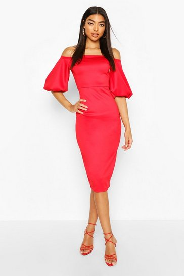 Red Tall Puff Sleeve Midi Dress