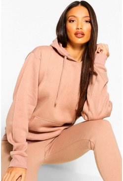 Camel Tall Solid Oversized Hoody