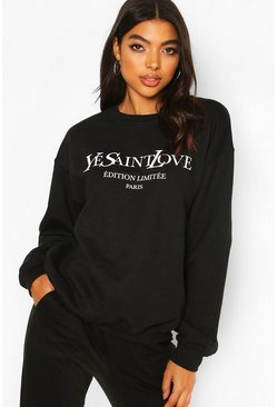 Black Tall French Slogan Sweat