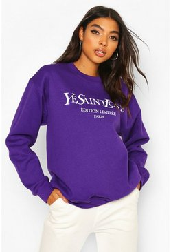 Purple Tall French Slogan Sweat