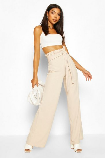 Stone Tall Paperbag Waist Wide Leg Trousers