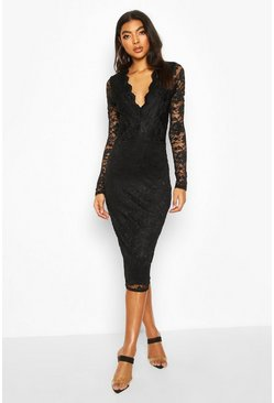 Black Tall Plunge Lace Midi Dress