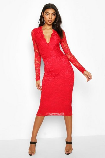 Red Tall Plunge Lace Midi Dress