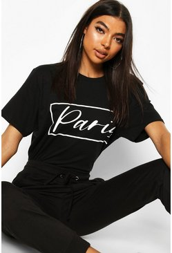 Black Tall 'Paris' Slogan T-Shirt