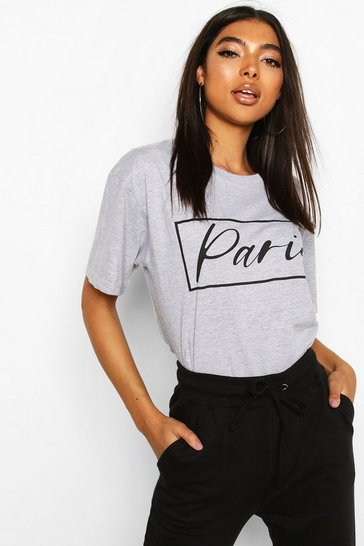 Grey Tall 'Paris' Slogan T-Shirt