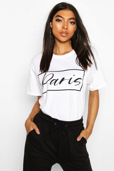 White Tall 'Paris' Slogan T-Shirt