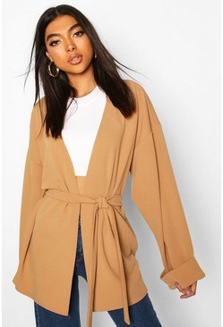 Camel Tall Wide Sleeve Belted Blazer