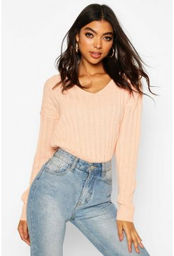 Apricot Tall Wide Rib V-Neck Crop Jumper