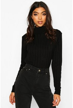 Black Tall Wide Rib Roll Neck Jumper