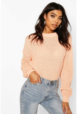 Peach Tall Crew Neck Crop Jumper