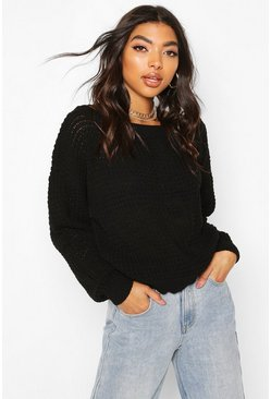 Black Tall Slash Neck Crop Jumper