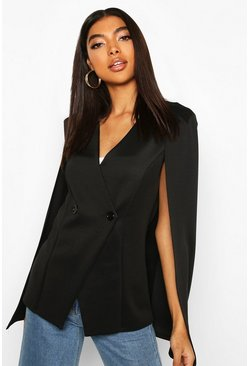 Black Tall Button Detail Cape Blazer
