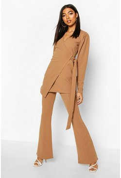 Camel Tall Puff Sleeve Belted Blazer