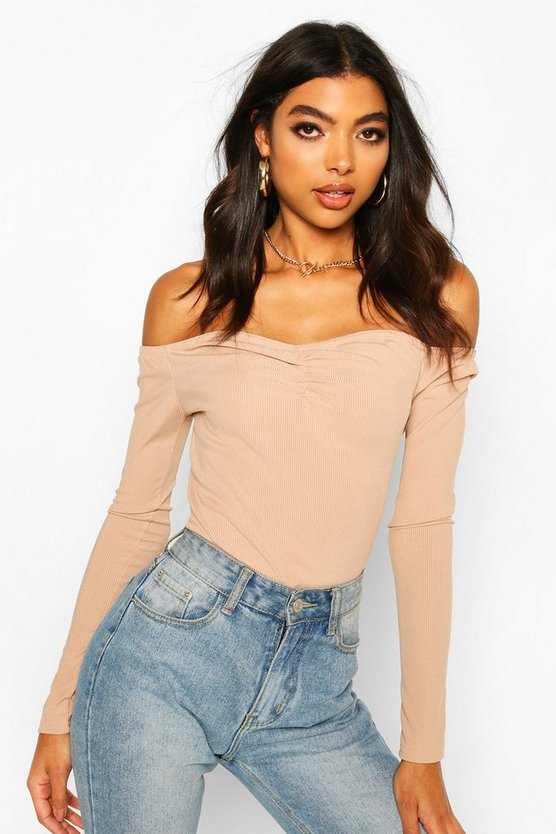 Sand Tall Ruched Rib Bodysuit