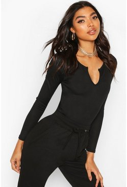 Black Tall Notch Neck Rib Bodysuit