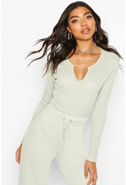 Sage Tall Notch Neck Rib Bodysuit