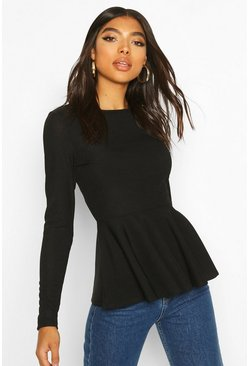 Black Tall Rib Peplum Top
