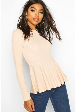 Blush Tall Rib Peplum Top