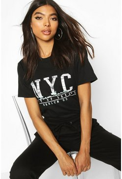 Black Tall NYC Slogan T-Shirt