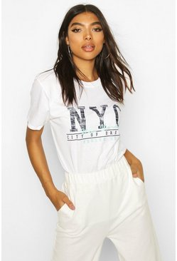 White Tall NYC Slogan T-Shirt
