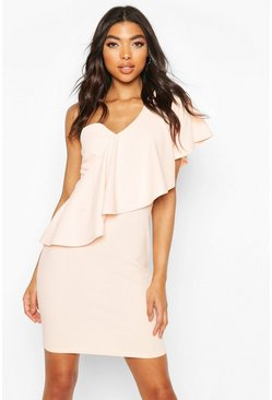 Nude Tall Ruffle One Shoulder Dress