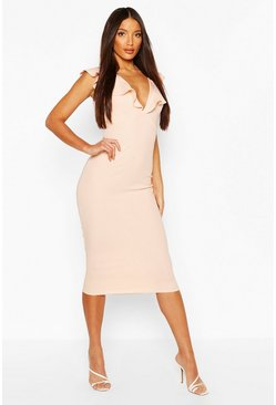 Nude Tall Ruffle Strap Midi Dress