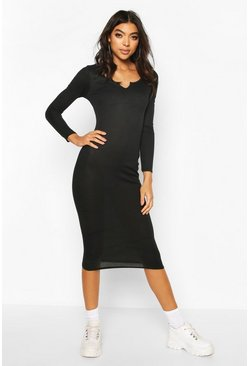 Black Tall Notch Neck Rib Midaxi Dress