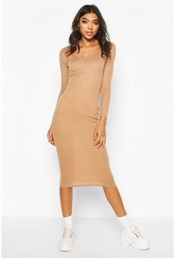 Camel Tall Notch Neck Rib Midaxi Dress