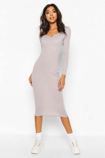 Grey Tall Notch Neck Rib Midaxi Dress