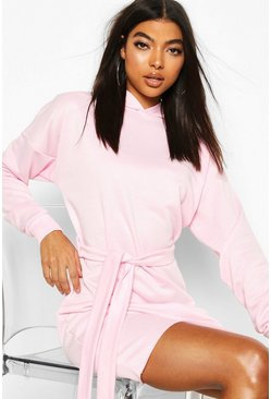 Baby pink Tall Hooded Belted Sweat Dress