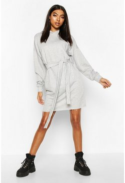 Grey Tall Hooded Belted Sweat Dress