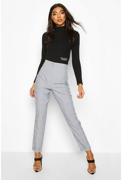Grey Tall Check Tapered Woven Trousers