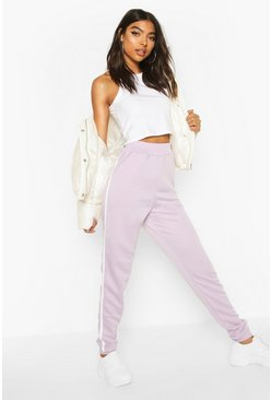 Lilac Tall Side Stripe Joggers
