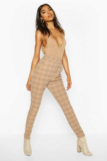 Stone Tall Tonal Check Skinny Trousers