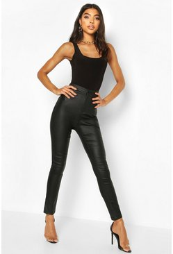 Black Tall Leather Look Skinny Trousers