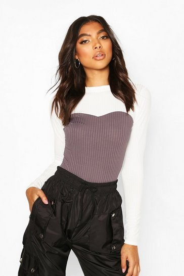 Charcoal Tall Colour Block Rib Bodysuit