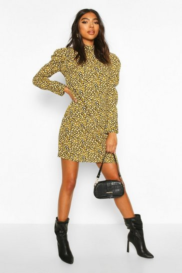 Mustard Tall Animal Print Puff Sleeve Dress