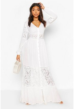 Ivory Tall Lace Insert Maxi Dress