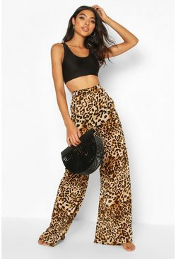 Brown Tall Leopard Print Beach Trousers