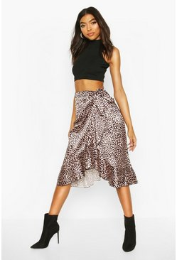Black Tall Smudge Leopard Print Wrap Skirt