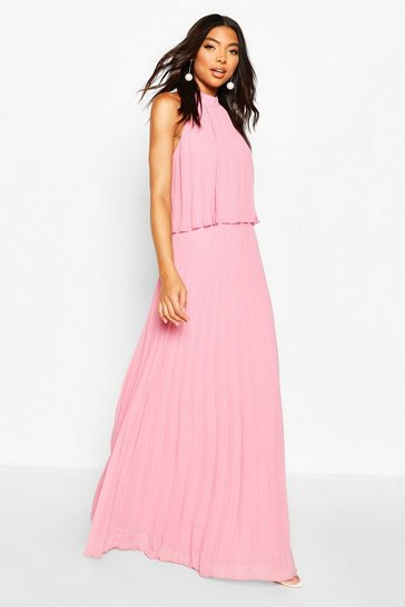 Blush Tall Halterneck Pleated Double Layer Maxi Dress