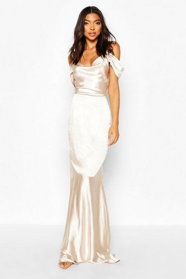Champagne Tall Off Shoulder Satin Maxi Dress