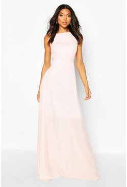 Soft pink Tall High Neck Open Back Maxi Dress