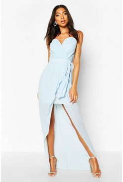 Dusty blue Tall Bandeau Tie Waist Split Front Midi Dress