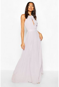 Grey Tall Halterneck Maxi Dress