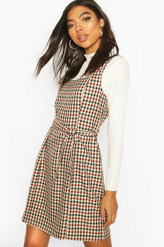 Brown Tall Belted Check Pinafore Dress