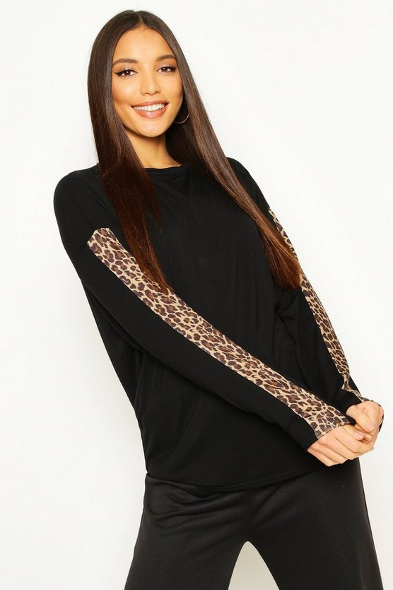 Tall Leopard Print Trim T-Shirt